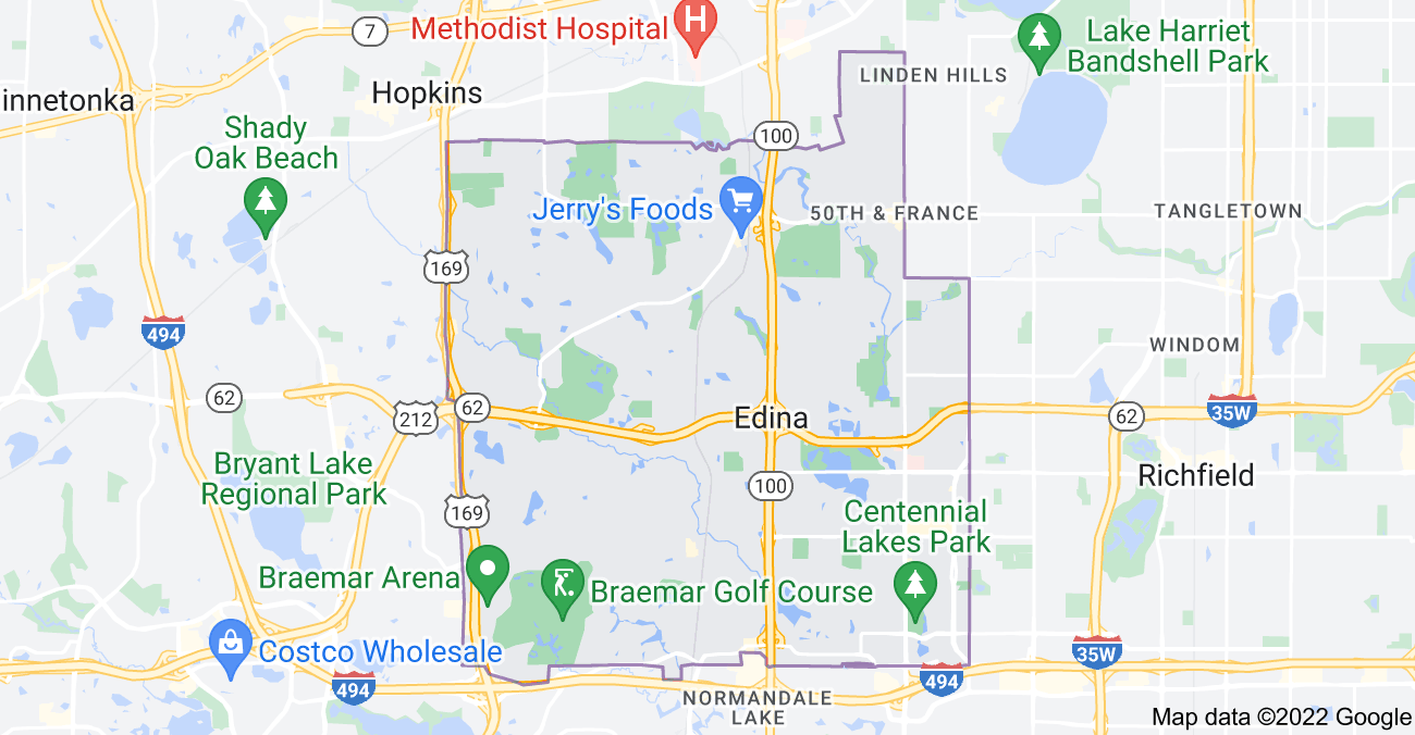Map of Edina, MN