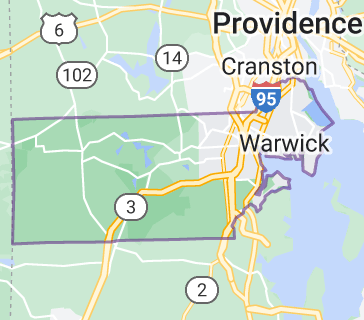 Map of Kent County, Rhode Island