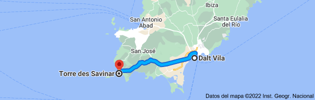 Mapa de Dalt Vila, 07800 Ibiza, Islas Baleares a Torre de Savinar (Torre Pirata), 07839 Sant Josep de sa Talaia, Illes Balears