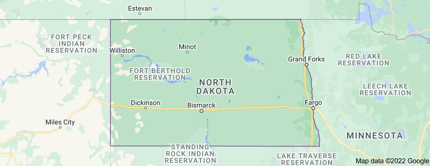 Location of North Dakota