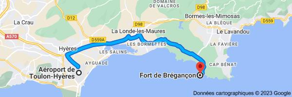 Carte depuis Aéroport Toulon - Hyères, Boulevard de la Marine, 83400 Hyères pour Fort de Brégançon, Bormes-les-Mimosas
