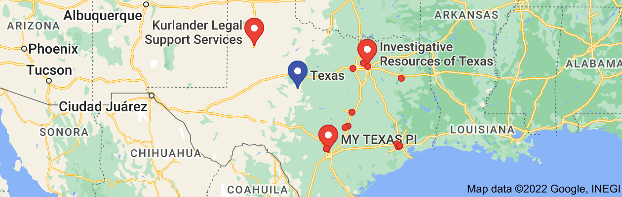 Map of private investigator Texas