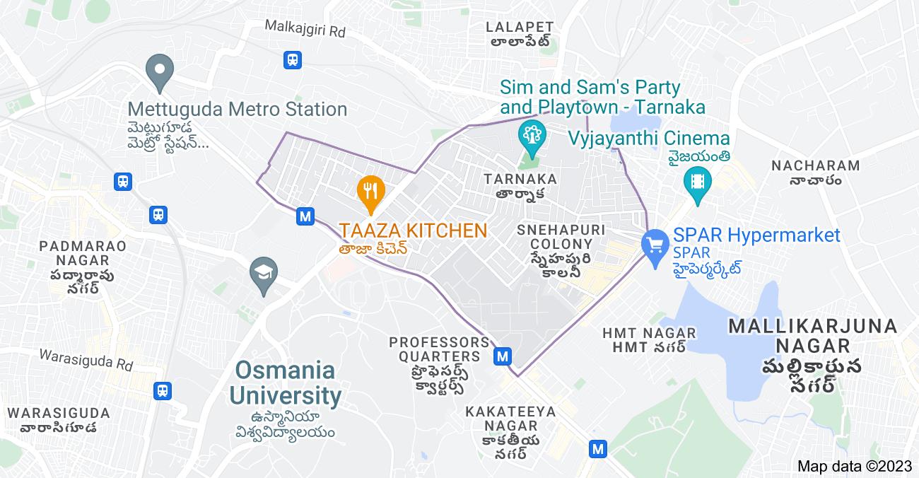 Map of Tarnaka, Secunderabad, Telangana, India