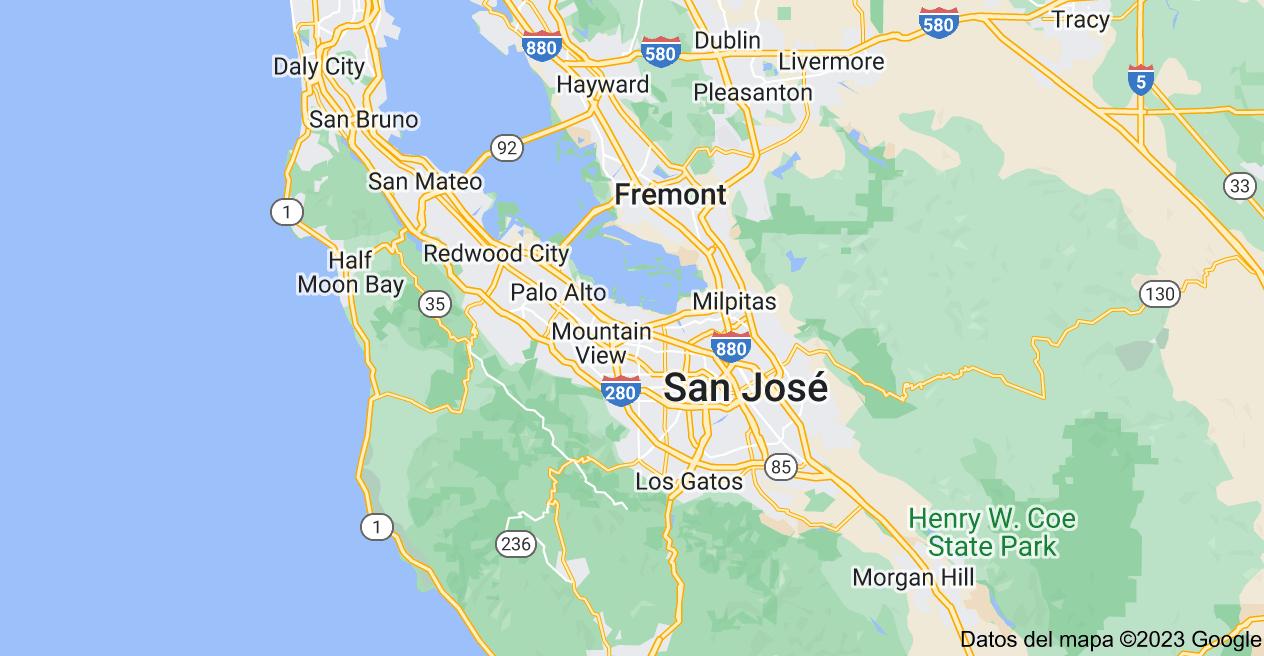 Mapa de Silicon Valley, California, EE. UU.