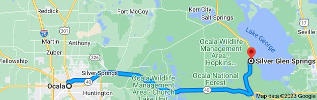 Map from Ocala, Florida to Silver Glen Springs, Florida 32134