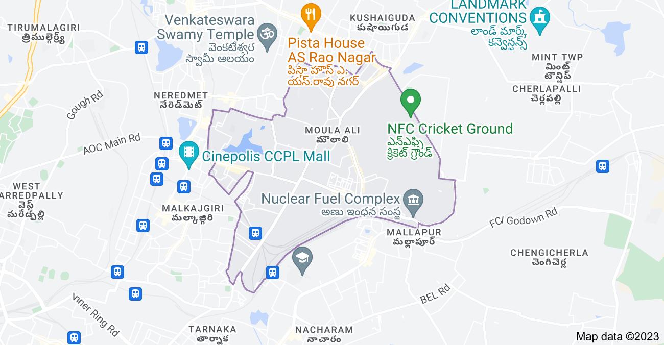 Map of Moula Ali, Secunderabad, Telangana, India