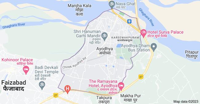 Map of Ayodhya, Uttar Pradesh