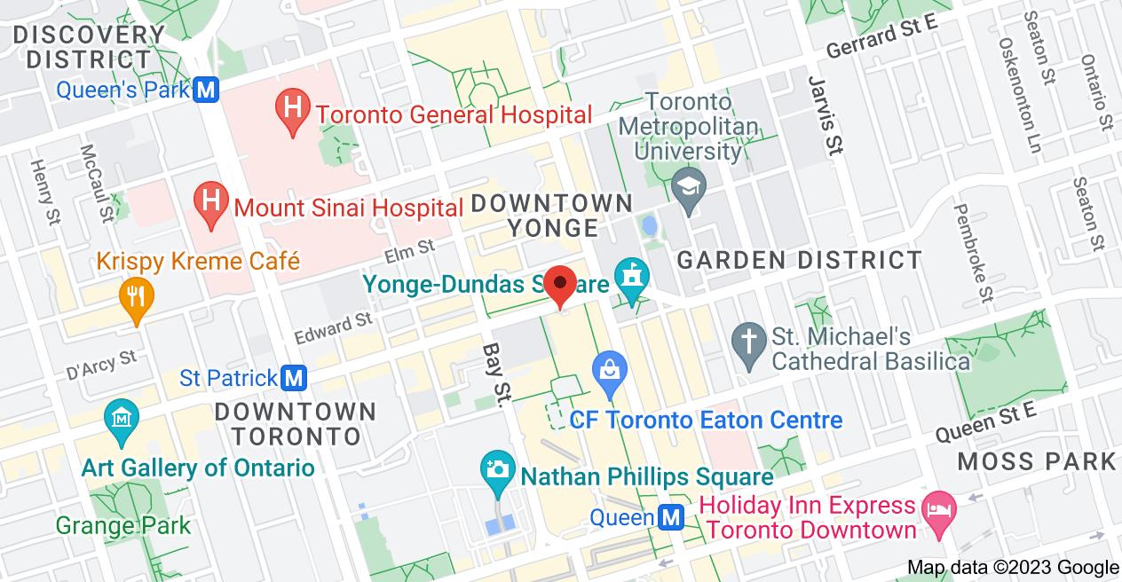 Map of 1 Dundas St W, Toronto, ON M5B 2H1
