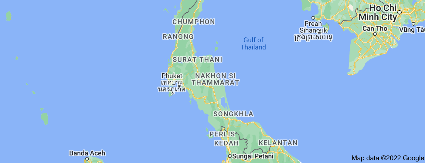 Location of Southern Thailand