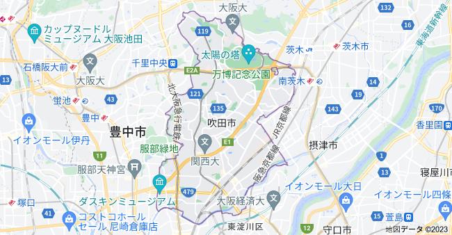 大阪府吹田市の地図