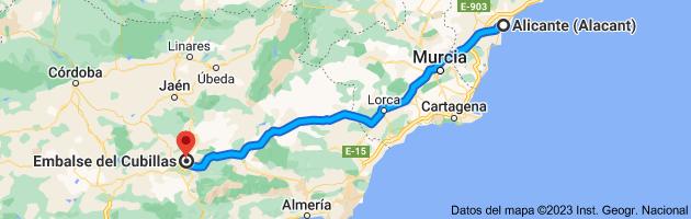 Mapa de Alicante (Alacant), Alicante a Embalse del Cubillas, Granada