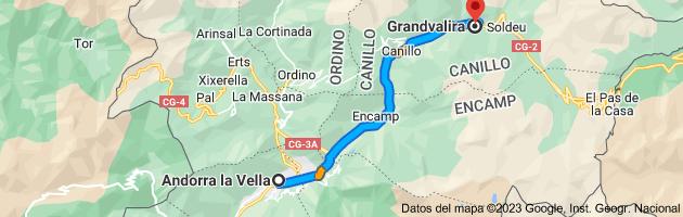 Mapa de Andorra la Vieja, AD500, Andorra a Grandvalira, AD100 Canillo, Andorra
