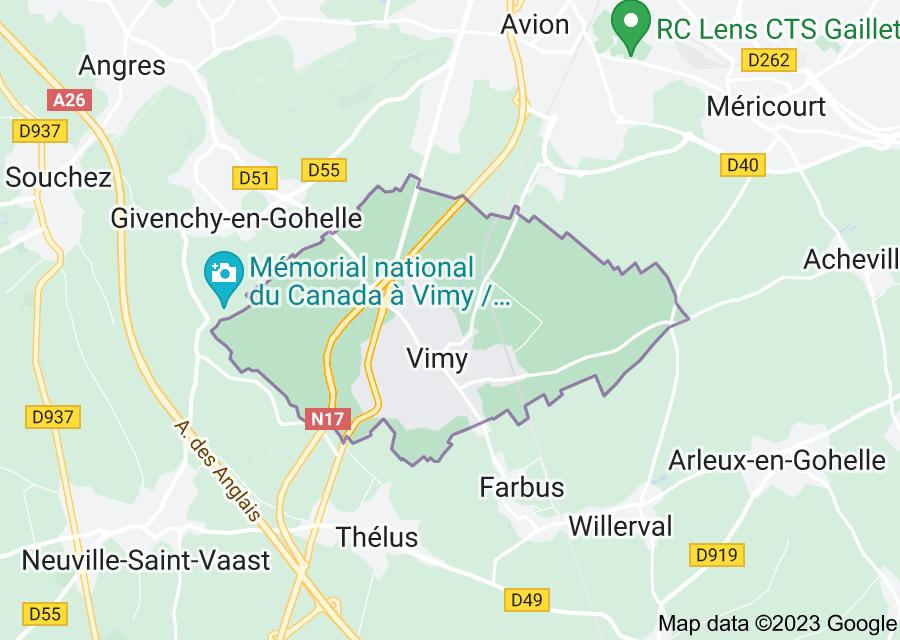 Location of Vimy