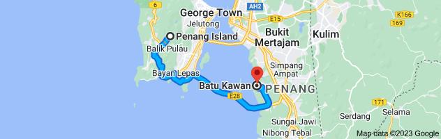 Map from Penang Island to Kampung Batu Kawan, Simpang Ampat, Penang, Malaysia