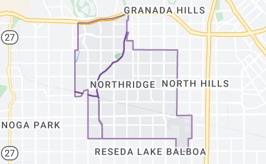 Map of Northridge, Los Angeles