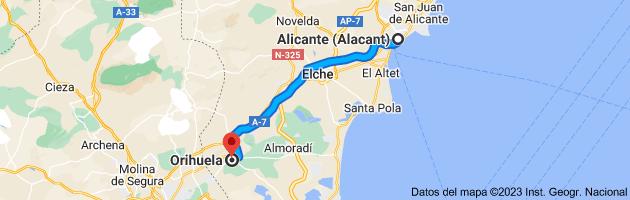 Mapa de Alicante a Orihuela, Alicante