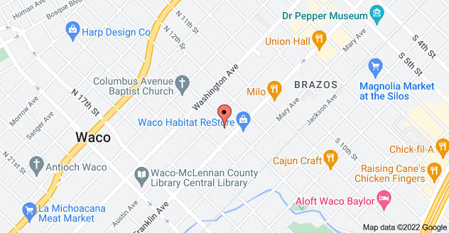 Map of 1300 Austin Ave, Waco, TX 76701