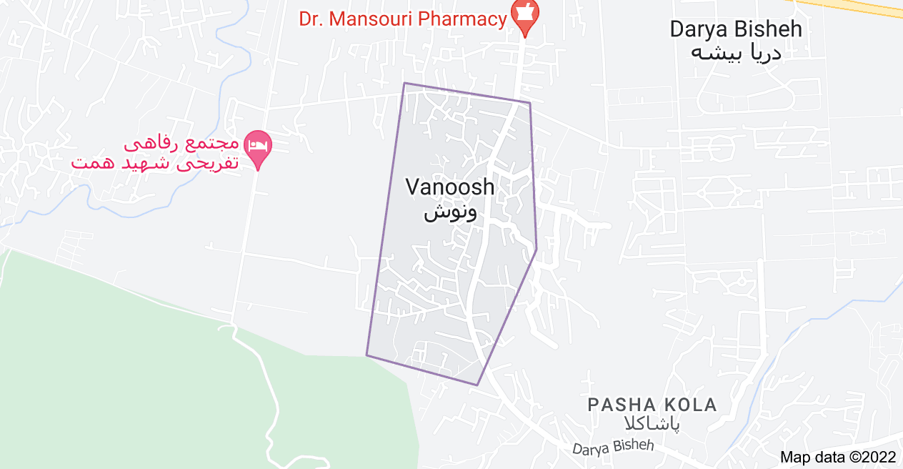 Map of Vanoosh, Mazandaran Province