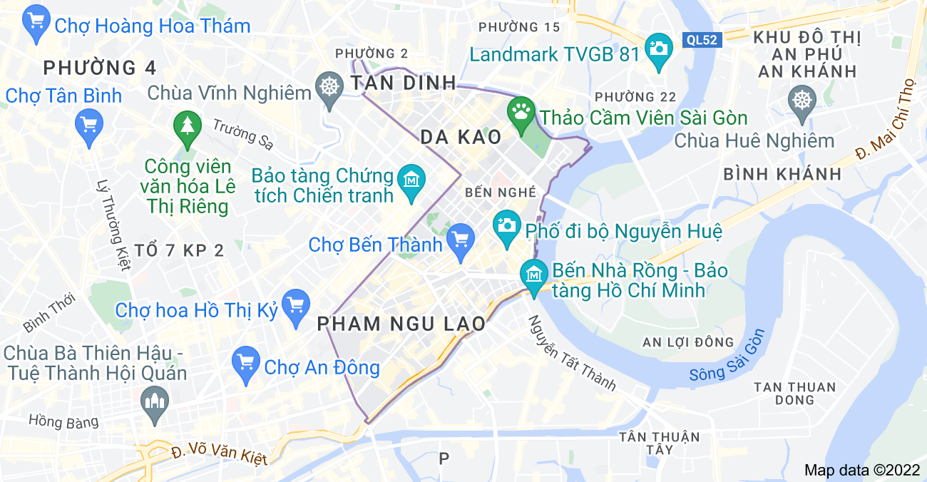 Map of District 1, Ho Chi Minh City