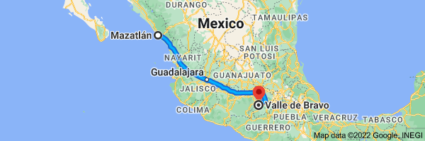 Map from Mazatlan, Sinaloa, Mexico to Valle de Bravo, State of Mexico, Mexico