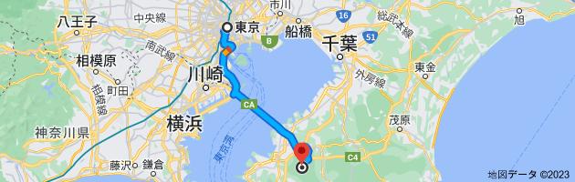 東京、東京都から〒292-0818 千葉県木更津市かずさ鎌足2丁目2−22までの地図