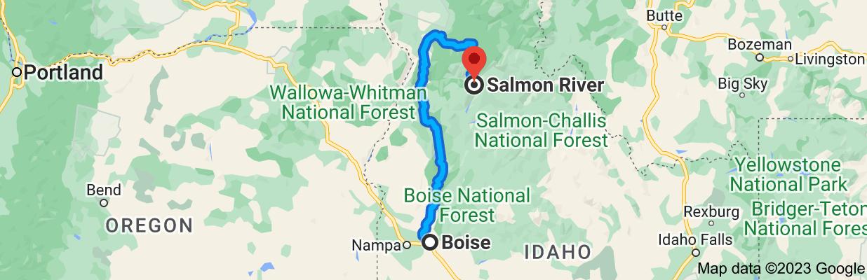 Map from Boise, Idaho to Salmon River, Idaho