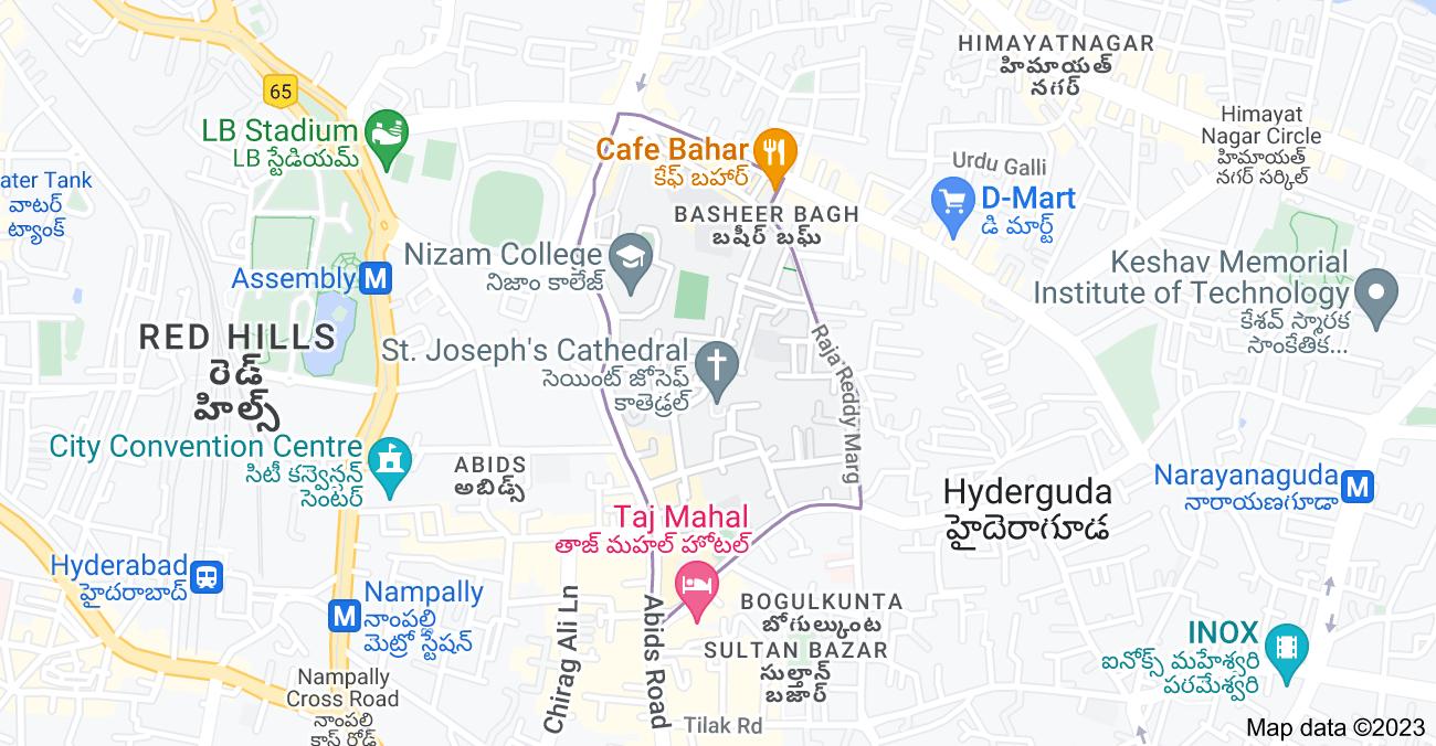 Map of Gun Foundry, Basheer Bagh, Hyderabad, Telangana, India