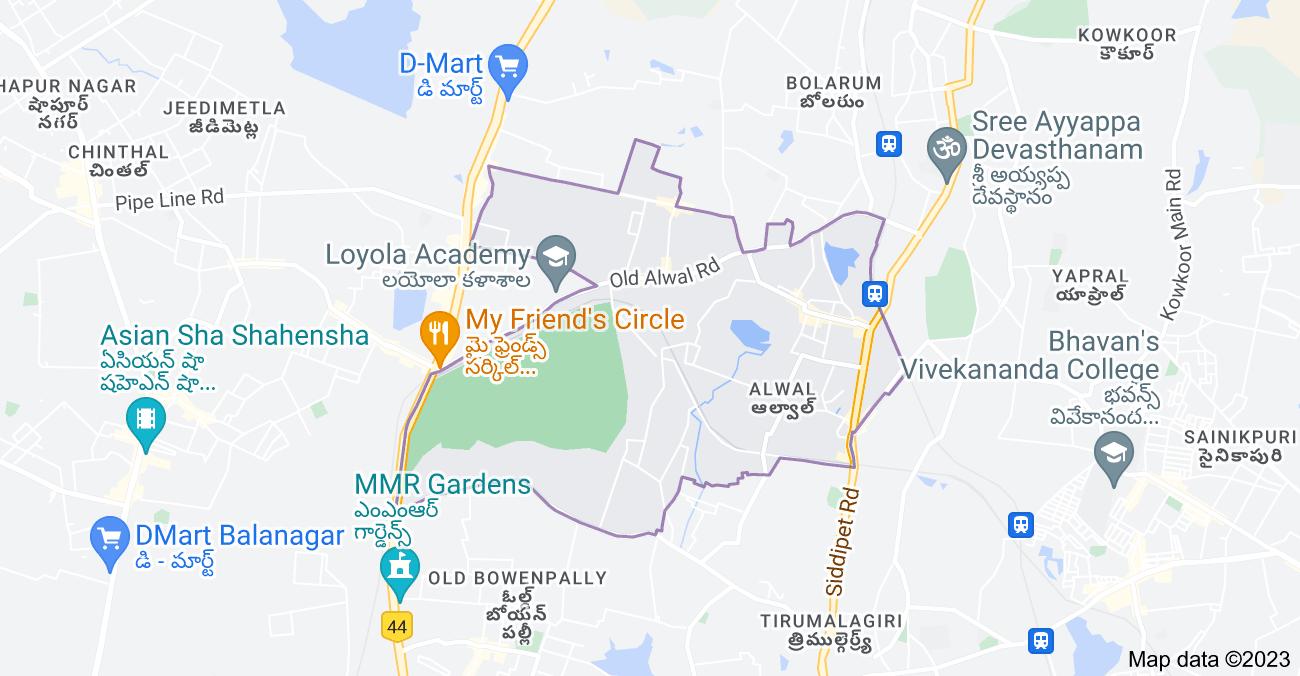 Map of Alwal, Secunderabad, Telangana, India