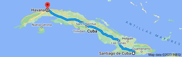 Map from Santiago de Cuba, Cuba to Havana, Cuba