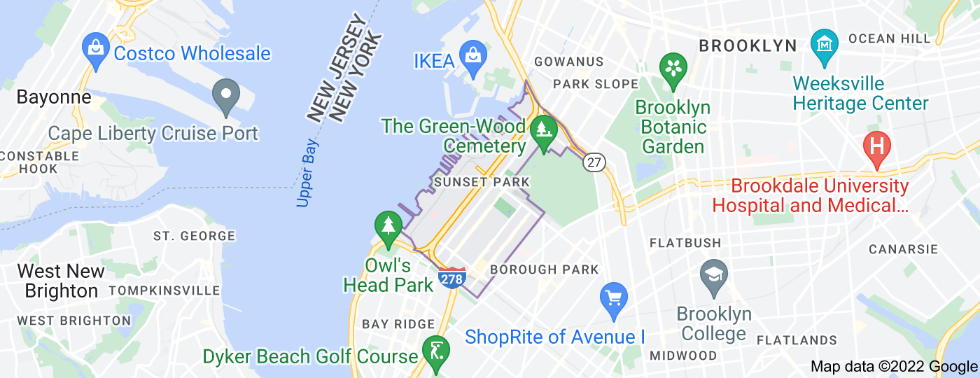 Location of Sunset Park