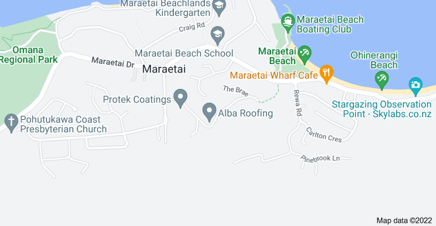 Location of Maraetai Heights Road