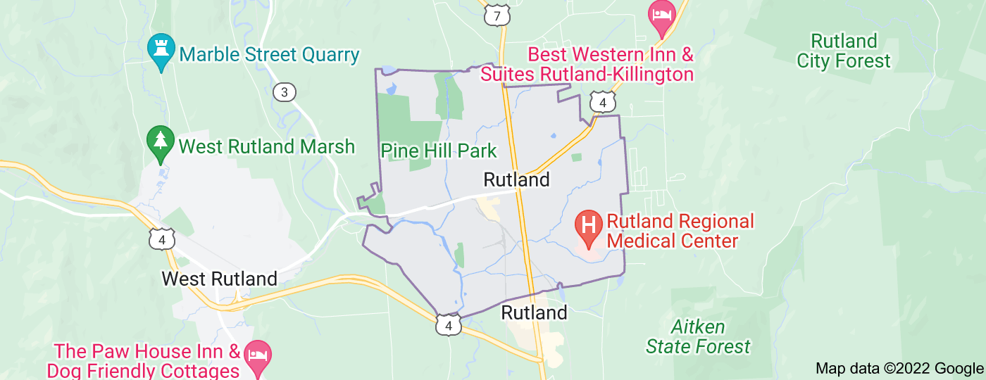 Location of Rutland City