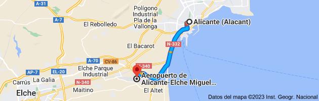 Mapa de Alicante (Alacant), Alicante a Aeropuerto de Alicante-Elche (ALC), 03195 L'Altet, Alicante
