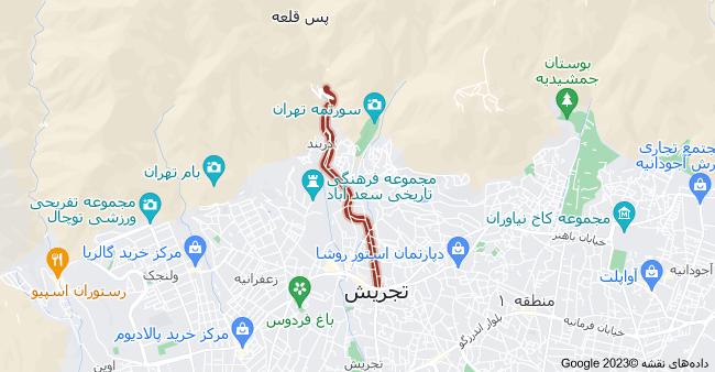 نقشه استان تهران، تهران، خیابان دربند