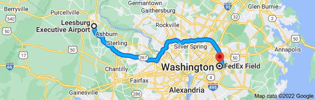 Map from Leesburg Executive Airport, 1001 Sycolin Rd, Leesburg, VA 20175, USA to FedExField, 1600 Fedex Way, Landover, MD 20785, USA