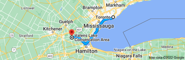 Map from Toronto, Ontario to Valens Lake Conservation Area, 1691 Regional 97 Rd, Cambridge, ON N1R 5S7