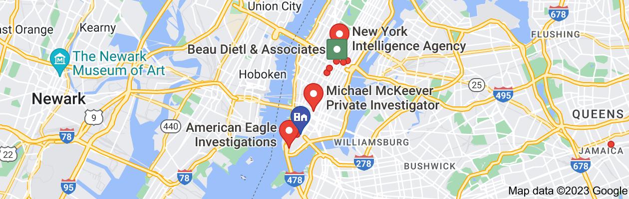 Map of private investigator new york city