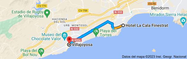 Mapa de Hotel La Cala, Av. de la Marina Baixa, 10, 03509 Cala de Finestrat, Alicante a Villajoyosa, 03570, Alicante