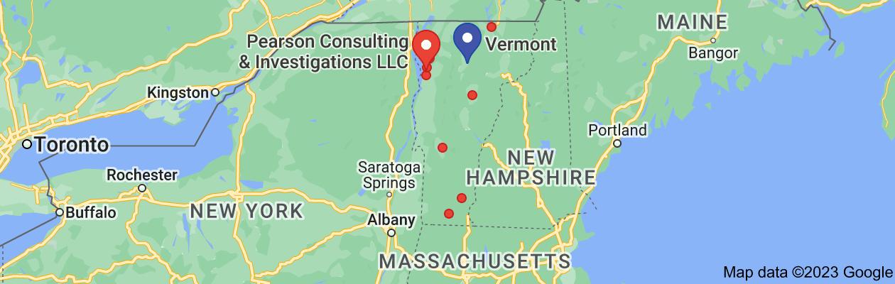 Map of private investigator vermont