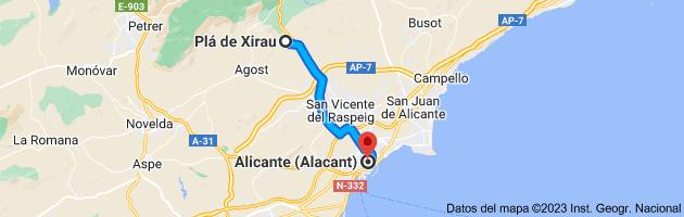 Mapa de Plá de Xirau, 03699, Alicante a Alicante (Alacant), Alicante
