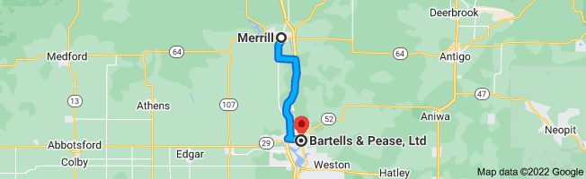 Map from Merrill, Wisconsin 54452 to Bartells & Pease, Ltd, 613 Forest St, Wausau, WI 54403