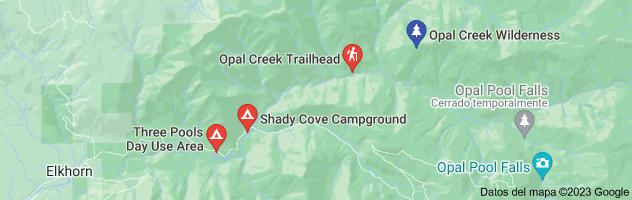 Mapa de opal creek recreation area