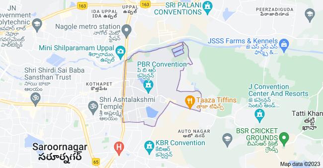 Map of Nagole, Hyderabad, Telangana, India