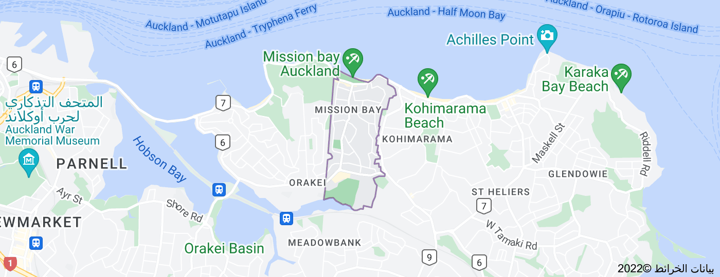 Location of Mission Bay, New Zealand