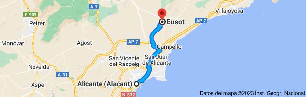 Mapa de Alicante (Alacant), Alicante a Busot, 03111, Alicante