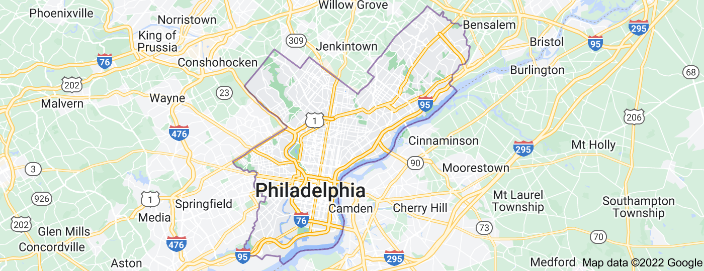 Location of Philadelphia