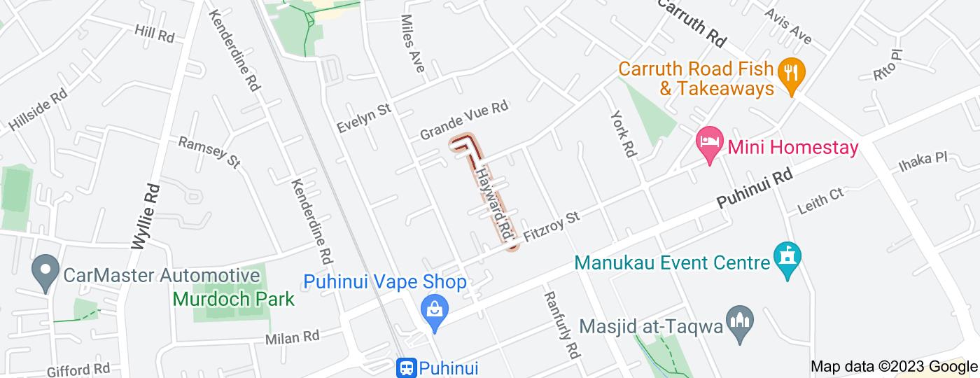 Location of Hayward Road
