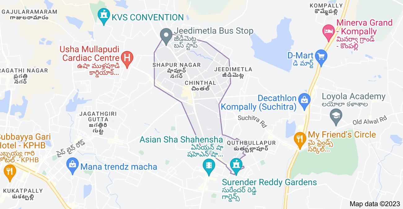 Map of Chinthal, Hyderabad, Telangana, India