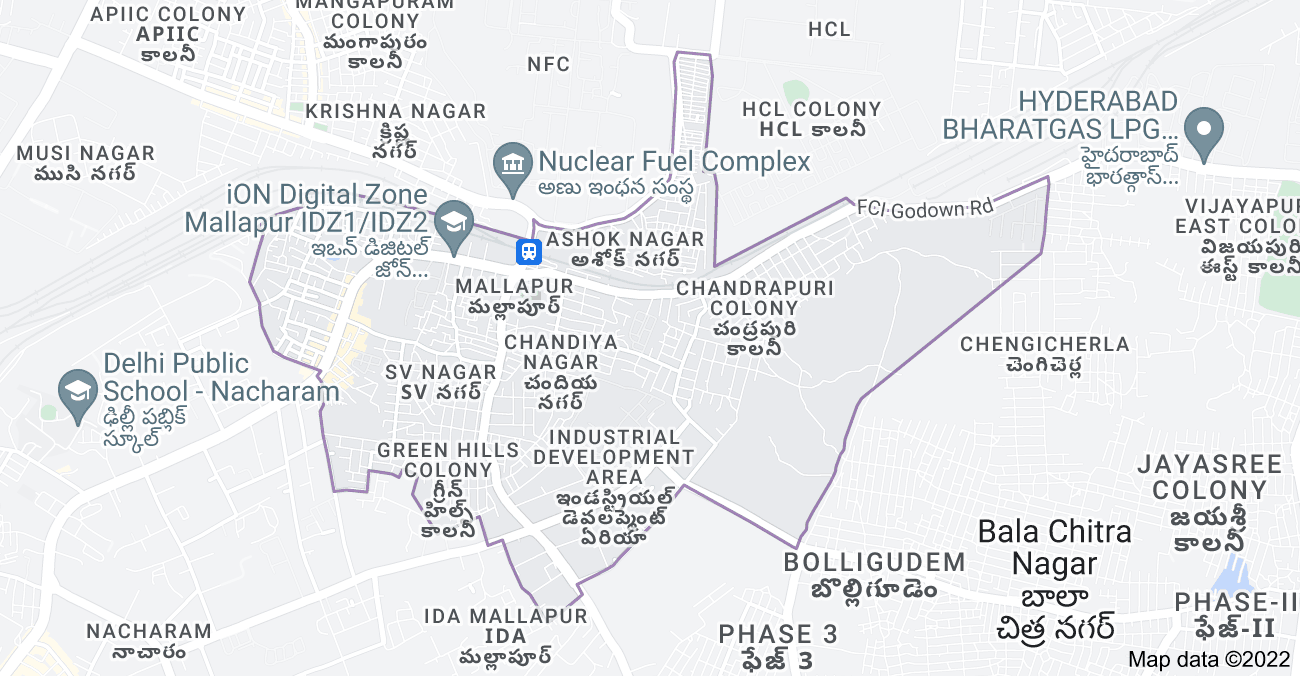 Map of Mallapur, Secunderabad, Telangana, India