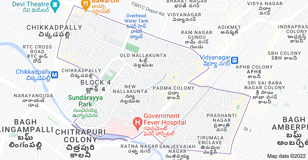Map of New Nallakunta, Hyderabad, Telangana, India